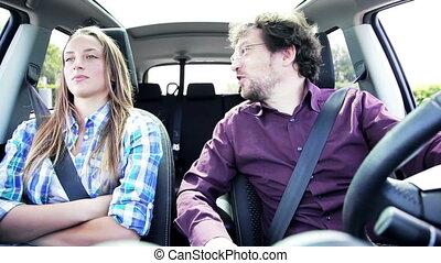 klesten, auto, dochter, vader