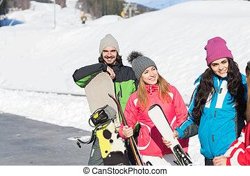 klesten, berg, groep, winter, mensen, ski, sneeuw, vrolijk, vakantiepark, snowboard, het glimlachen, vakantie, vrienden, vrolijke
