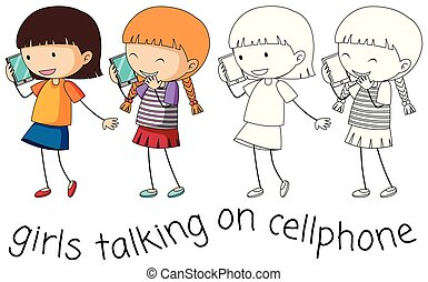 klesten, doodle, meisje, cellphone
