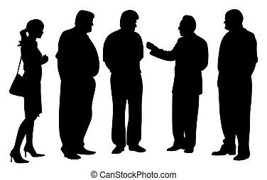 klesten, groep, vergadering, zakenlui