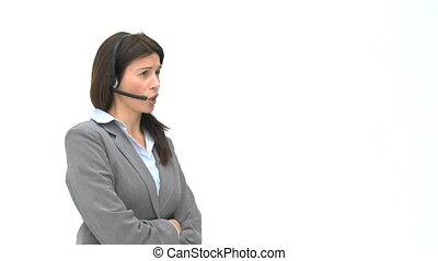 klesten, headphones, geërgerd, businesswoman