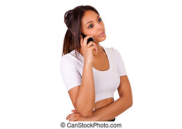 klesten, jonge, telefoon, afrikaan, verticaal, meisje