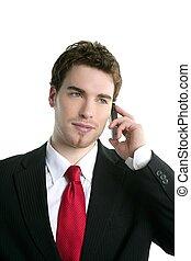 klesten, jonge, telefoon, kostuum, zakenman, mooi