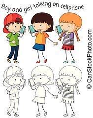 klesten, jongen, meisje, cellphone