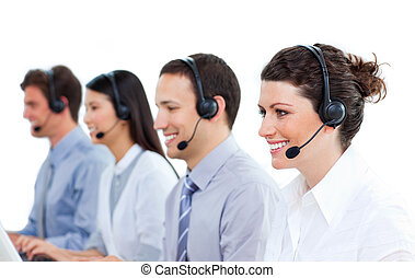 klesten, koptelefoon, blij, zakenlui