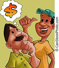 klesten, over, mannen, geld
