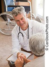 klesten, senior, zijn, patiënt, arts