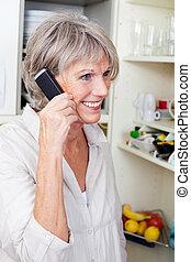 klesten, telefoon, modieus, vrouw, ouder