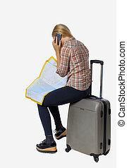 klesten, vrouw, koffer, route, zitting terug, kaart, het kijken, hun, telefoon., reiziger, aanzicht