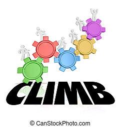 klettern, leute, steigend, auf, vergrößern, höher, erfolg, wort