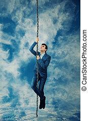 klettern, zu, der, himmelsgewölbe