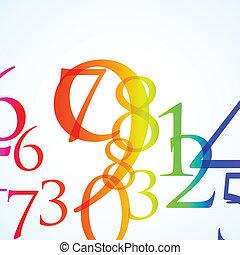 kleur, abstract, getal, achtergrond