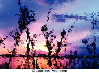 kleur, abstract, ondergaande zon , achtergrond