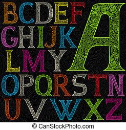 kleur, alfabet, zuur, psychedelic