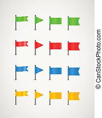 kleur, anders, vlaggen, verzameling