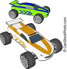 kleur, auto, illustratie, of, vector, reproductie, origineel