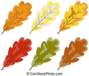 kleur, autumn leaves, verzameling