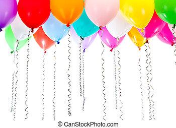 kleur, ballons, met, wimpels, op, verjaardagsfeest