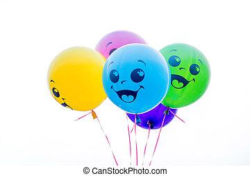 kleur, ballons, vrijstaand, op wit