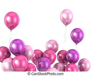 kleur, balloon, helium, 3d