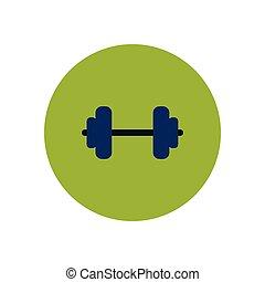 kleur, barbell, modieus, cirkel, sportende, pictogram