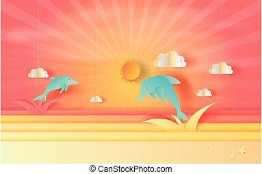 kleur, beautiful., tone.3d, wolken, poster, springt, summertime, kunst, aanzicht, vector, ambacht, dolfijn, papier, orange-red, seizoen, zeezicht, ondergaande zon , style., pastel, illustratie, achtergrond