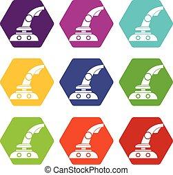 kleur, bedieningshendel, set, hexahedron, pictogram