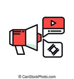 kleur, bevordering, video, pictogram