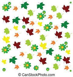 kleur, bloem, blad, achtergrond, vector