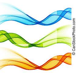 kleur, bocht, set, lijnen, vector, ontwerp, element.