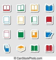 kleur, boek, pictogram, set, als, labes
