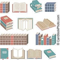 kleur, boek, set, iconen