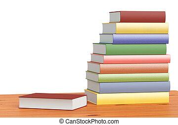 kleur, boekenplank, boekjes , stapel