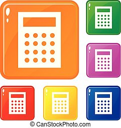 kleur, boekhouding, vector, set, iconen
