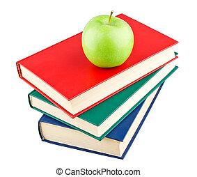 kleur, boekjes , groene appel, drie
