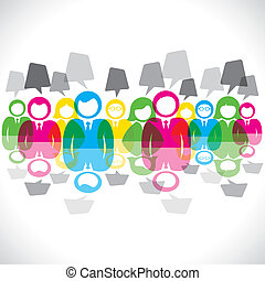 kleur, boodschap, b, vergadering, zakenlieden