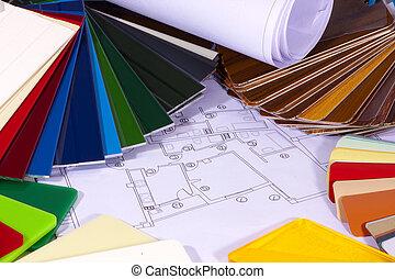 kleur, bouwsector, tabel, architectuur