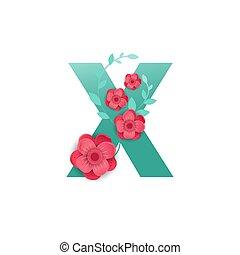 kleur, brief x, met, mooi, bloemen