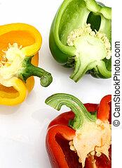 kleur, capsicums, helft, drie, knippen