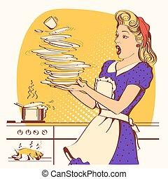 kleur, chicken, oven., illustratie, vector, onhandig, ...