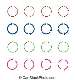 kleur, cirkel, set, vector, arrows.