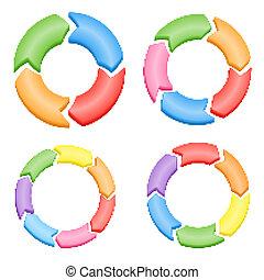 kleur, cirkel, vector, pijl, set.