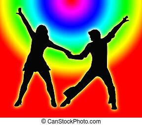 kleur, cirkels, dancing, paar, 70