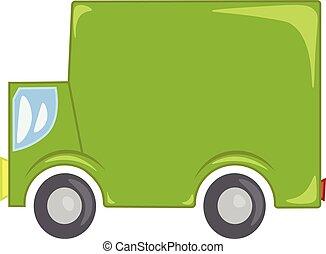 kleur, commercieel, illustratie, vector, groene, vrachtwagen, of