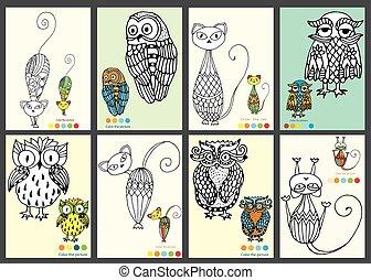 kleur, de, afbeeldingen, uilen, en, poezen