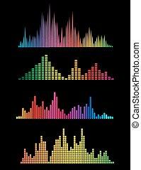 kleur, digitale muziek, soundwaves