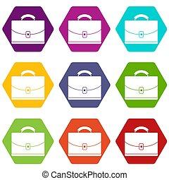 kleur, diplomaat, set, hexahedron, pictogram