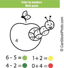 kleur, door, numbers., wiskunde, game., kleuren, pagina, met, rups