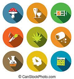 kleur, drugs, plat, verzameling, pictogram