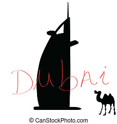 kleur, dubai, vector, illustratie, kameel